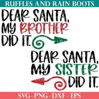 ruffles and rain boots svg Dear Santa sibling Christmas