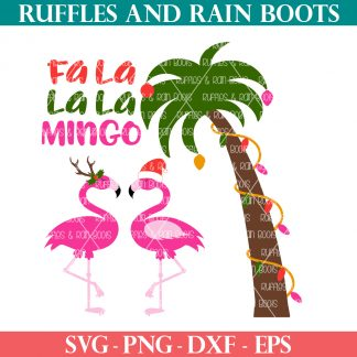 flamingo Christmas SVG on white background with ruffles and rain boots text