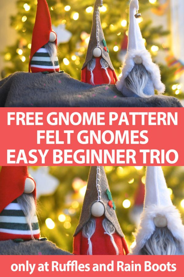 photo collage of free no-sew and sewing patterns for gnomes with text which reads free gnome pattern felt gnomes easy beginner trio