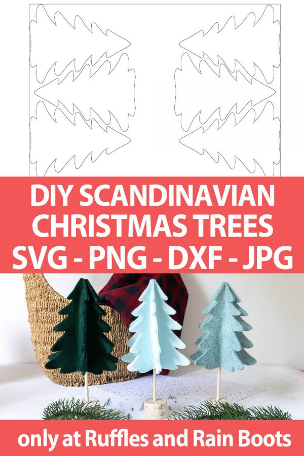 photo collage of scandinavian christmas tree cut file set for cricut or silhouette with text which reads diy scandinavian christmas trees svg png dxf jpg