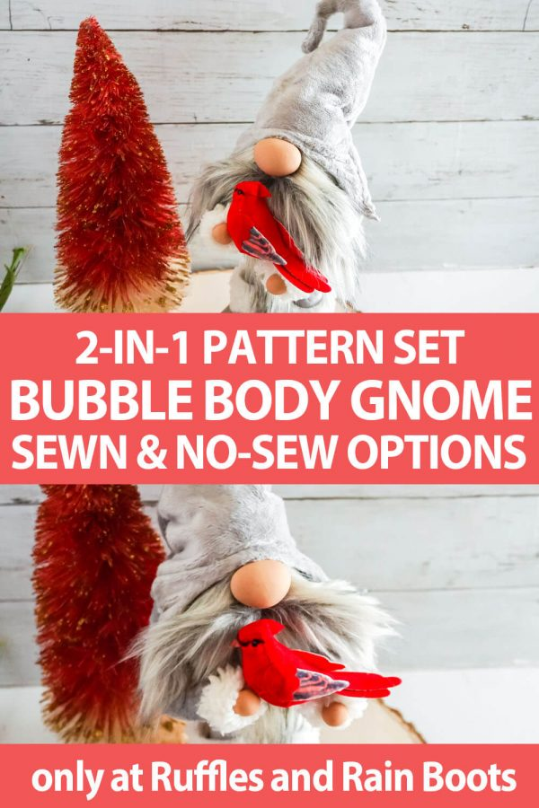 photo collage of diy gnome pattern with a curled hat with text which reads 2-in-1 pattern set bubble body gnome sewn & no-sew options