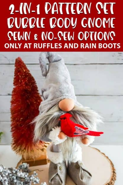 sewing pattern scandinavian gnome with sewn and no-sew options with text which reads 2-in-1 pattern set bubble body gnome sewn & no-sew options
