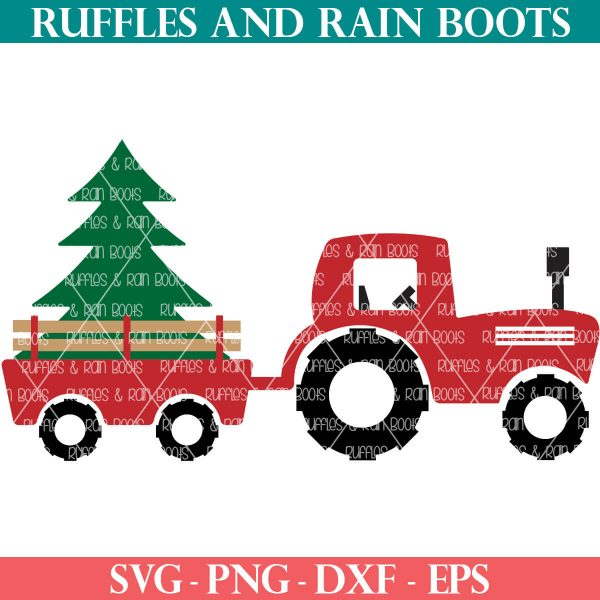 Christmas tractor SVG with trailer and tree on ruffles and rain boots shop