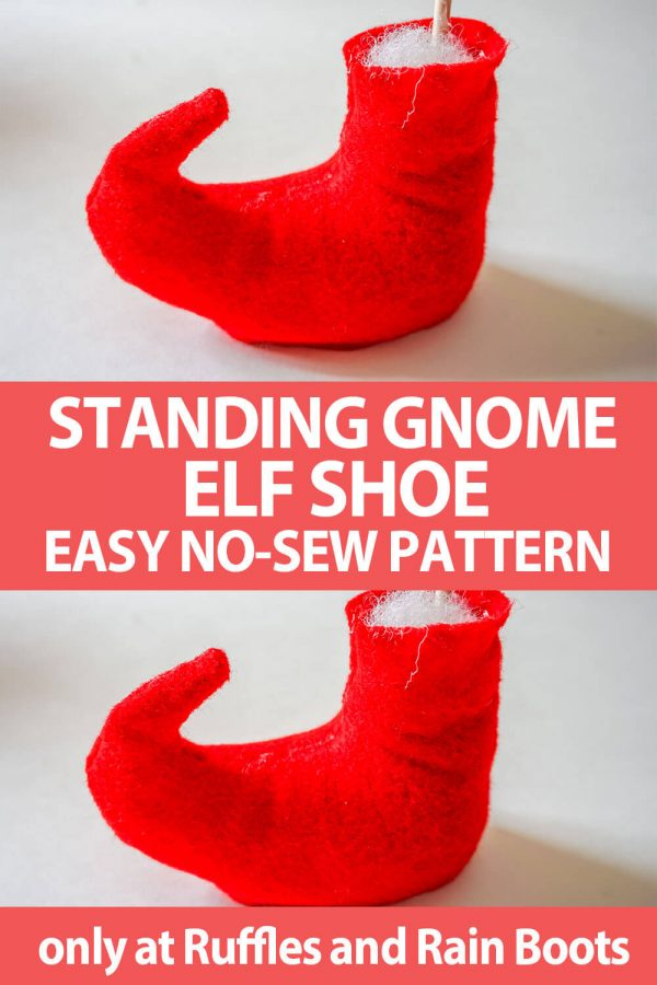 photo collage of gnome shoe pattern for elf or witch shoes with text which reads Standing Gnome elf shoe easy no-sew pattern