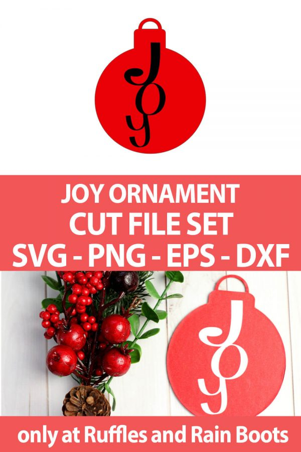 photo collage of easy cricut or silhouette craft project joy paper ornament with text which reads joy ornament cut file set svg png eps dxf