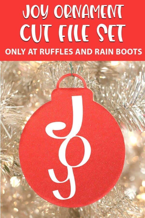 Joy ornament cut file set for cricut with text which reads joy ornament cut file set