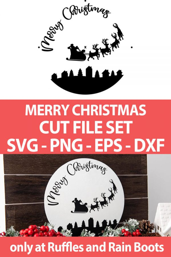 photo collage of santa's sleigh christmas cricut or silhouette file with text which reads merry christmas cut file set svg png eps dxf