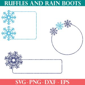 three blue snowflake tag SVG files in two colors of blue for winter crafts
