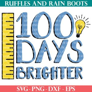 blue 100 days brighter svg with yellow ruler and lightbulb from ruffles and rain boots