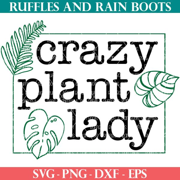 black and green crazy plant lady svg on white background