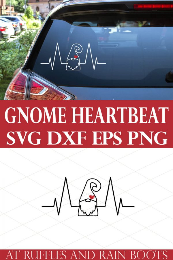 collage of gnome svg and mockup of gnome heartbeat in white on back of car window