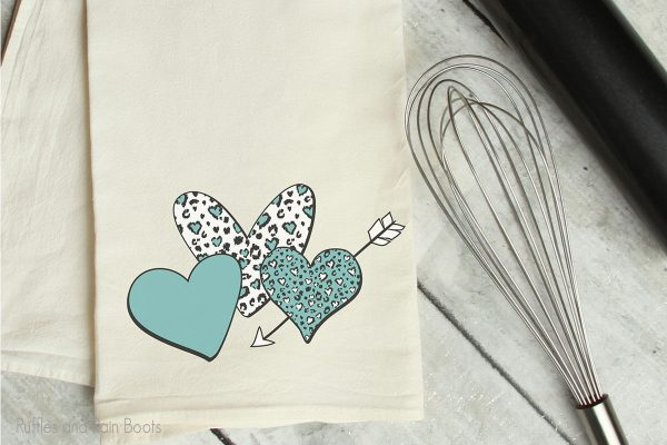 Heart leopard print Sublimation set on a kitchen towel