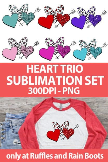 photo collage of cute valentines sublimation heart set with text which reads heart trio sublimation set 300 dpi png