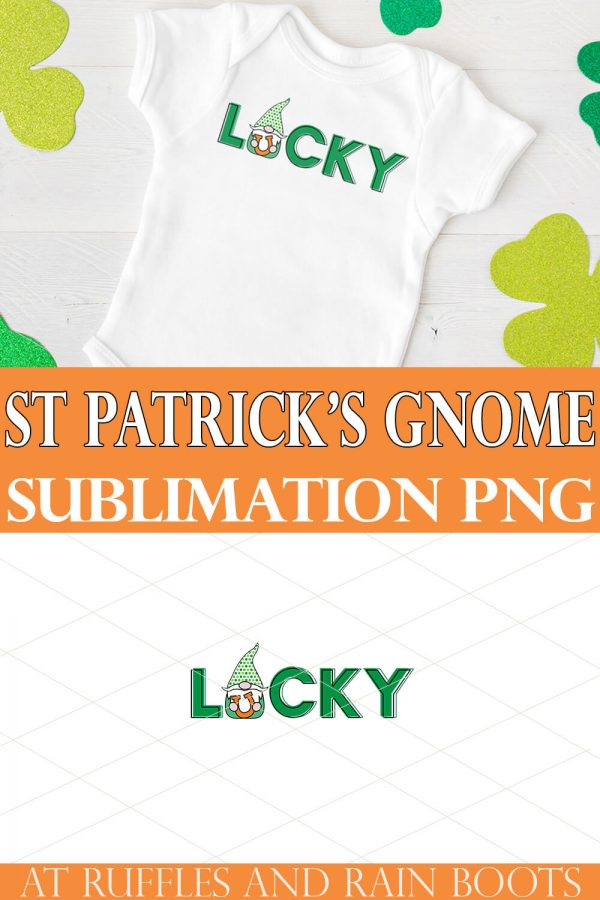 collage of lucky sublimation gnome on white bodysuit