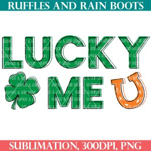 green and orange lucky me sublimation for st patricks day on white background