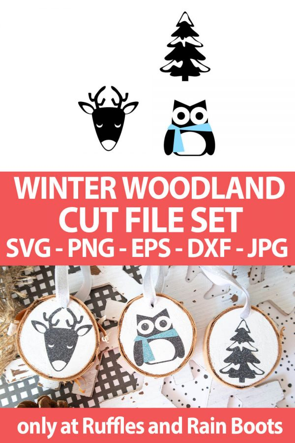photo collage of Winter Woodland animal Cut File Set with text which reads winter woodland cut file set svg png eps dxf jpg