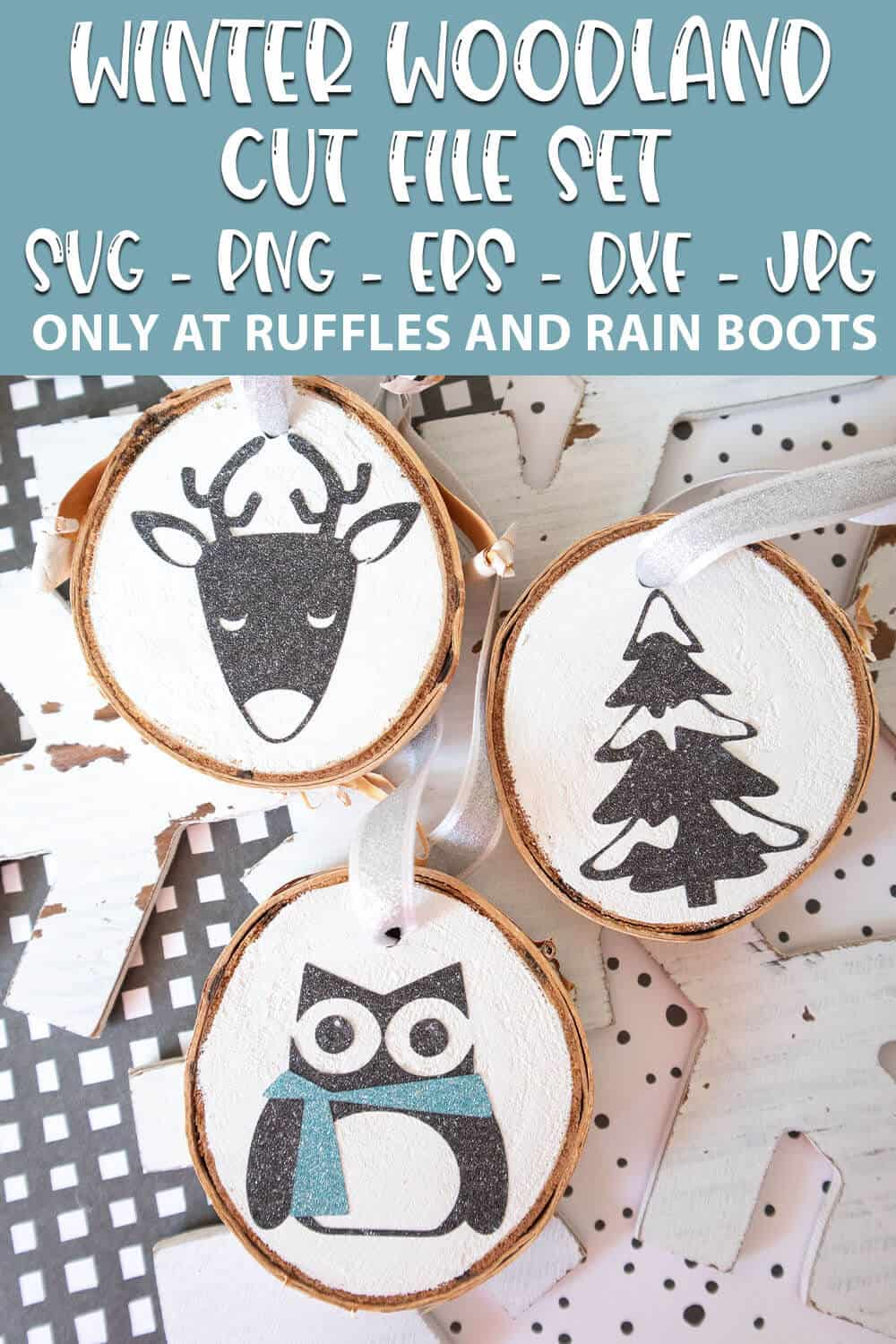 Winter Woodland Cut File Set on wood round ornaments with text which reads winter woodland cut file set svg png eps dxf jpg