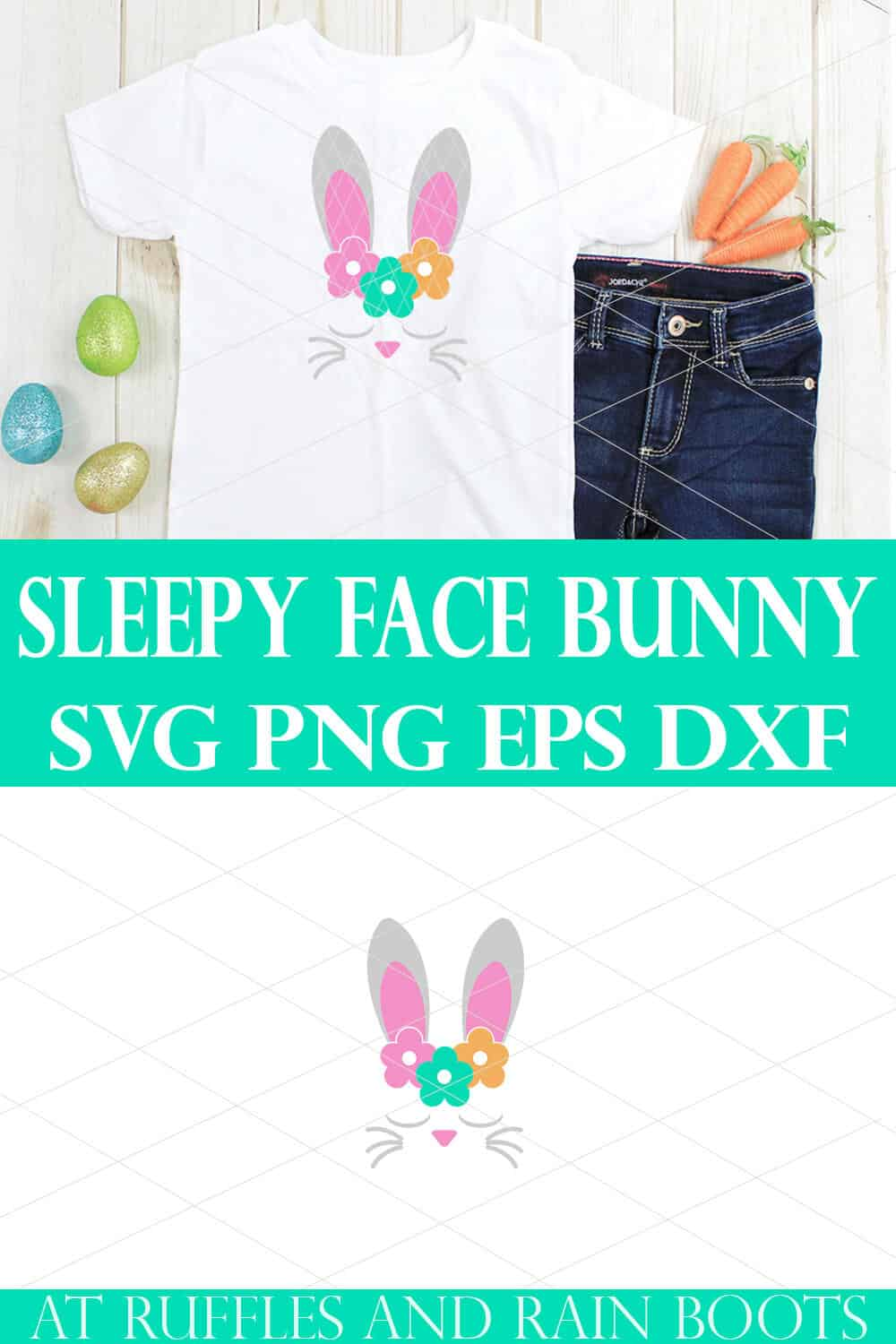 collage of bunny face svg and cut file on white t shirt on wood background