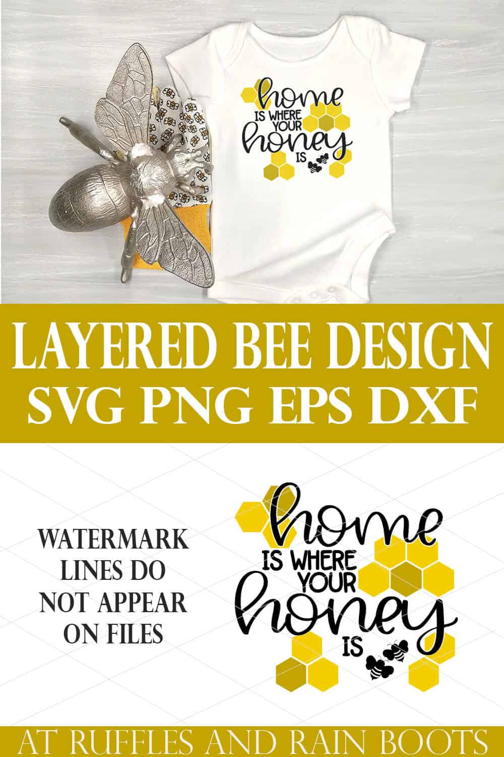 vertical collage of white onesie with bee and home is where your honey is in vinyl