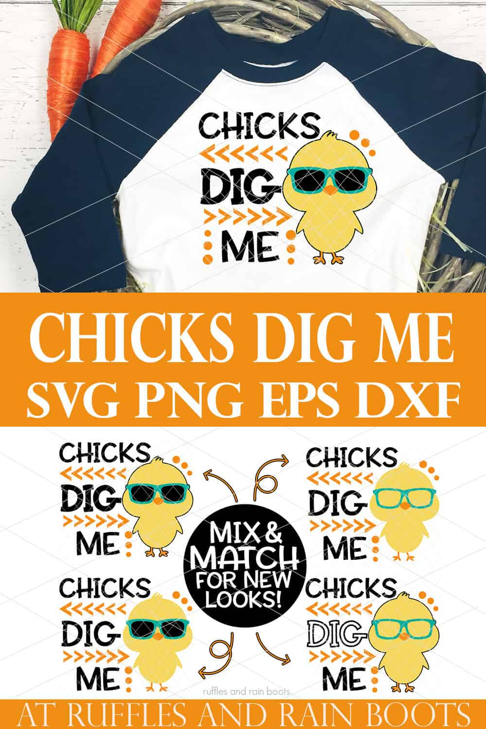 collage of chicks dig me svg on white raglan t shirt with blue sleeves on white background
