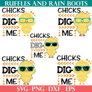 easter chicks dig me svg set