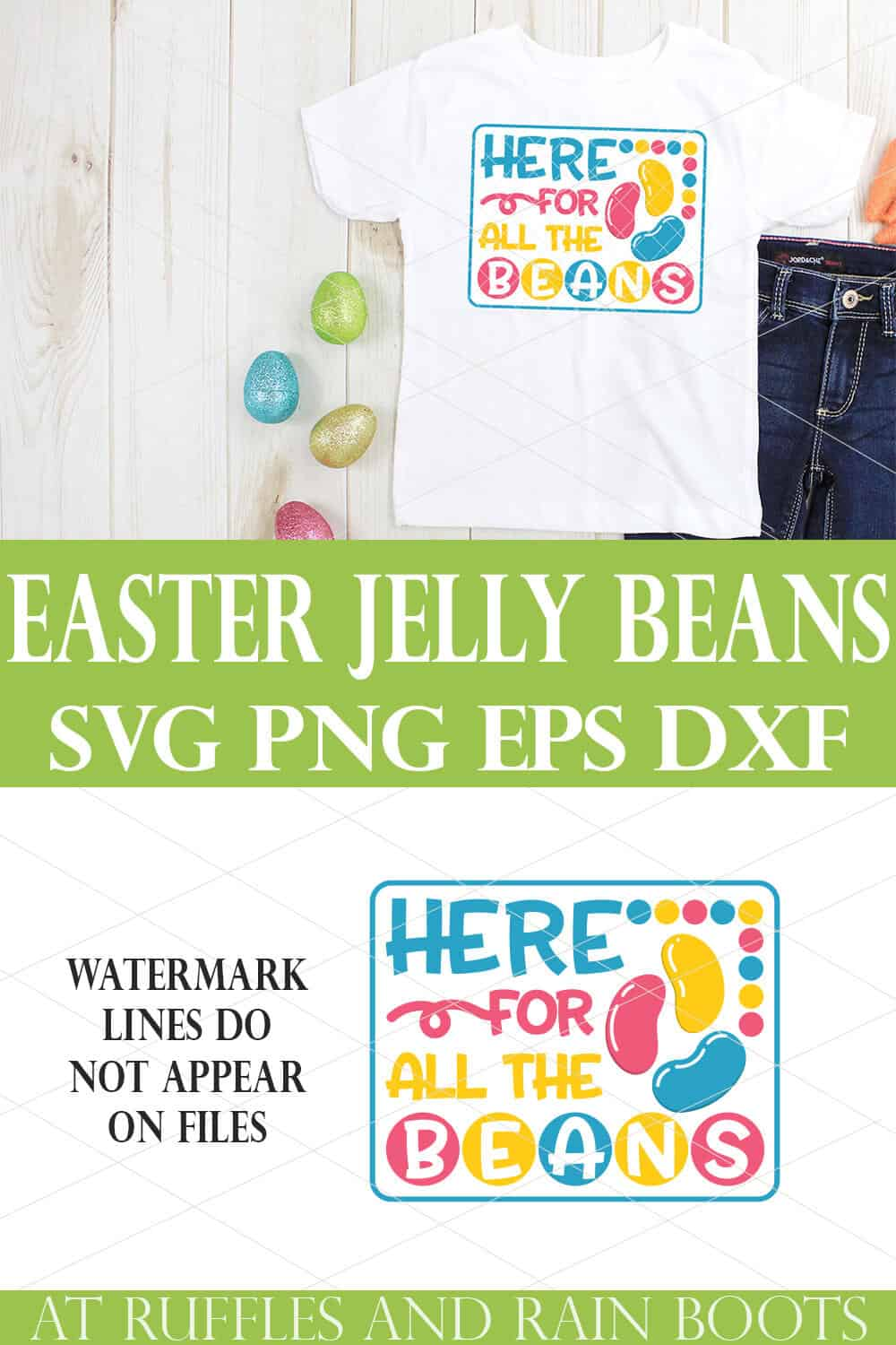 collage of white t shirt and jeans on wood background with easter eggs and here for the jelly beans easter design