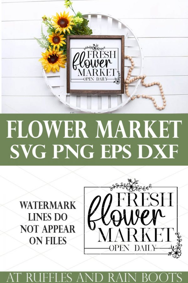 collage of flower svg on white frame with sunflowers and farmhouse style on wood background