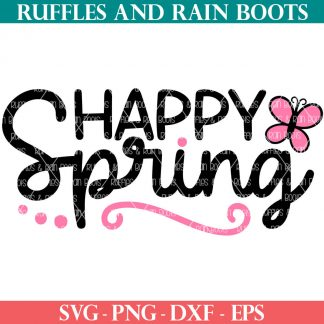 black and pink happy spring svg with butterfly and flourish