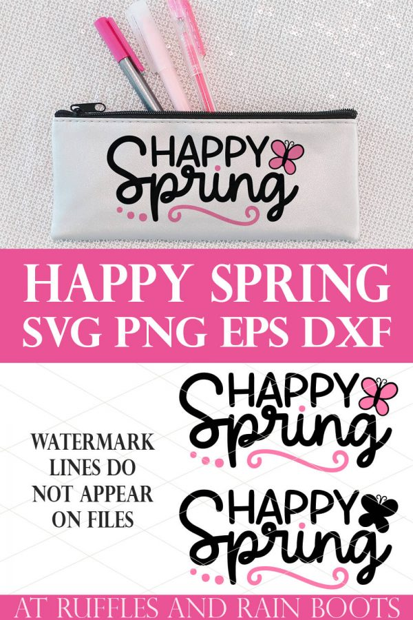 canvas pen pouch with black and pink Happy Spring SVG in vinyl on sequin background