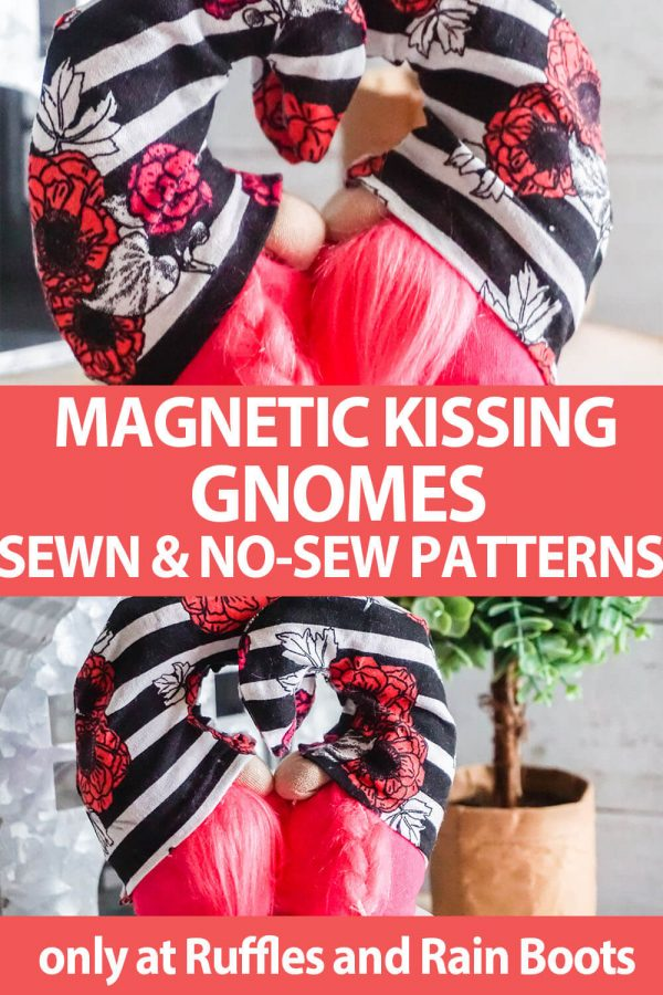 photo collage of miniature gnomes that kiss gnome pattern with text which reads magnetic kissing gnomes sewn & no-sew patterns