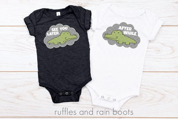see you later alligator svg with offset cut file set on baby body suits on white wood background