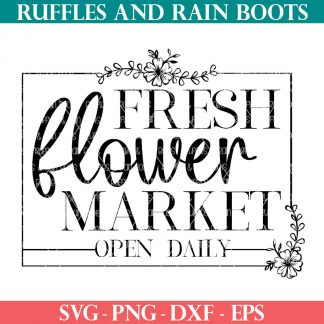 fresh flower market svg with flower and serif type
