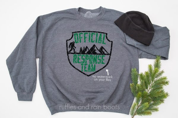 horizontal image of gray sweatshirt on white background with sasquatch and official response team cut file