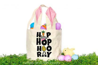 girl style hip hop hooray easter svg on basket in grass