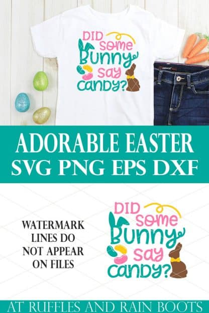 stacked image of white t shirt and jeans on holiday background with did some bunny say easter svg
