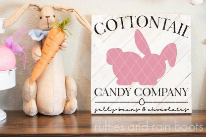 Easter display with cottontail candy sign SVG and bunny