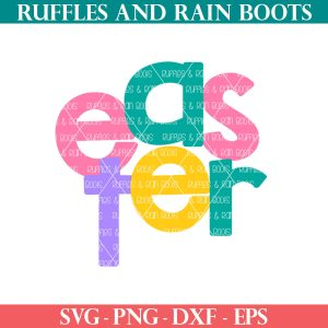 colorful Easter cut file with cross from ruffles and rain boots