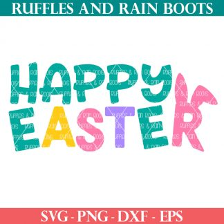 colorful happy Easter svg with bunny ears on the r