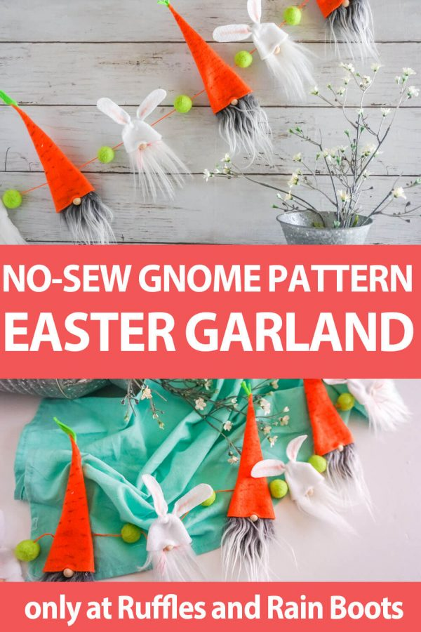 photo collage tutorial of No-Sew Easter Gnome Pattern for Garland with text which reads no-sew gnome pattern easter garland