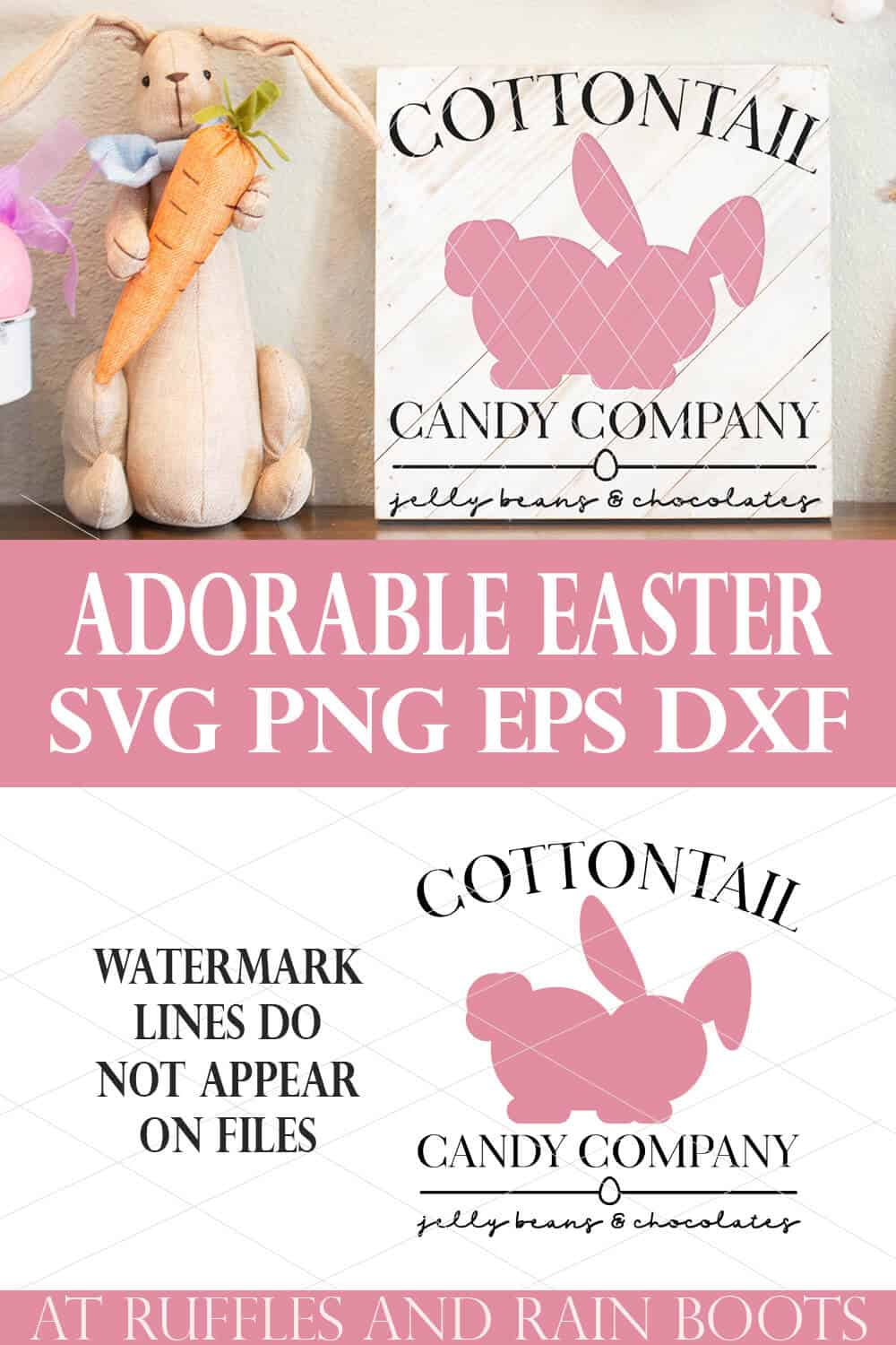 collage of cottontail candy sign made with cricut svg with adorable easter text