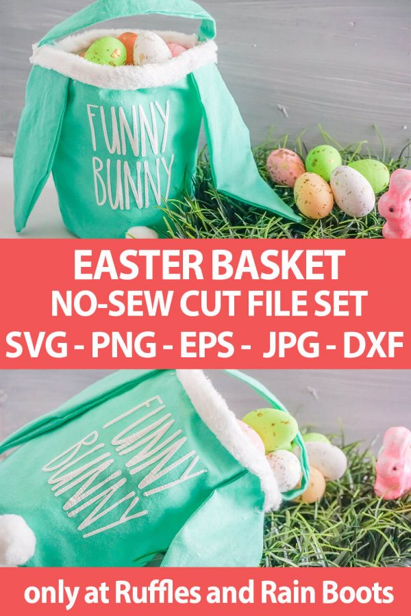 photo collage of no-sew easter egg basket with text which reads easter basket no-sew cut file set svg png eps jpg dxf