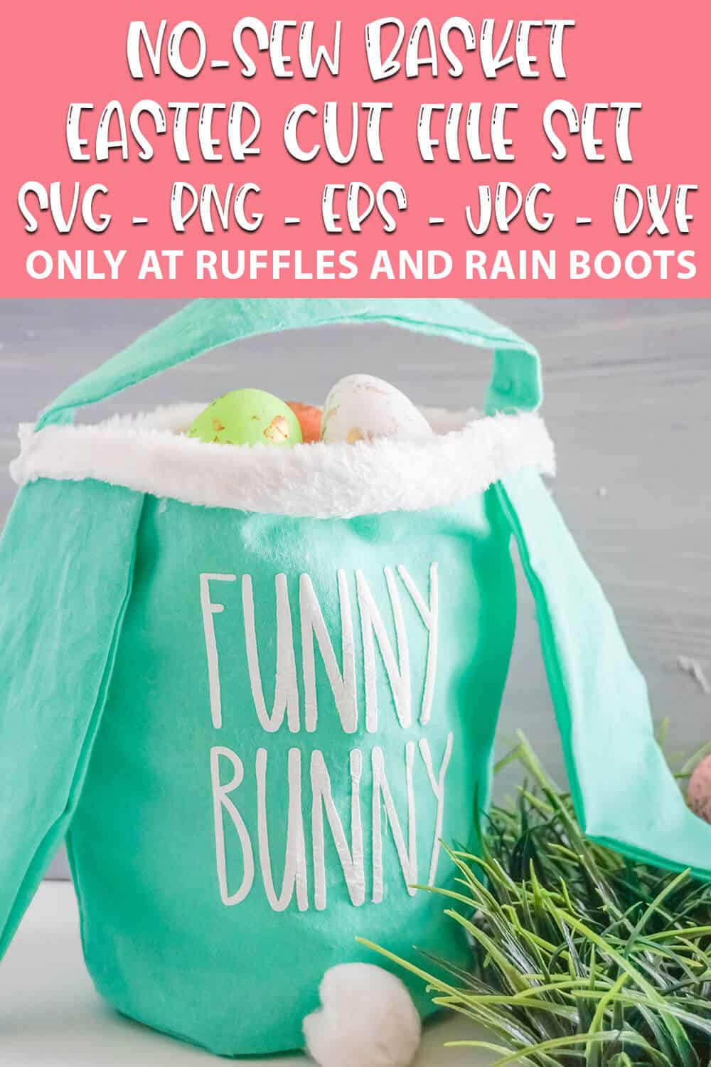 no-sew easter basket with text which reads no-sew basket easter cut file set svg png eps jpg dxf