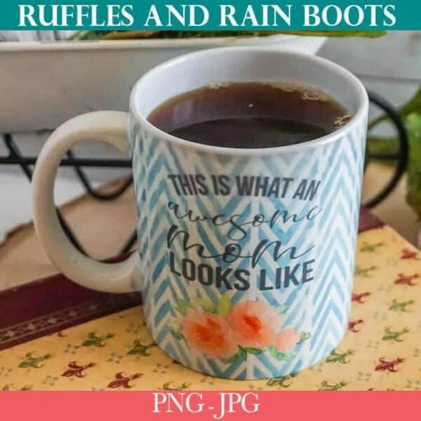 awesome mom sublimation mug design file