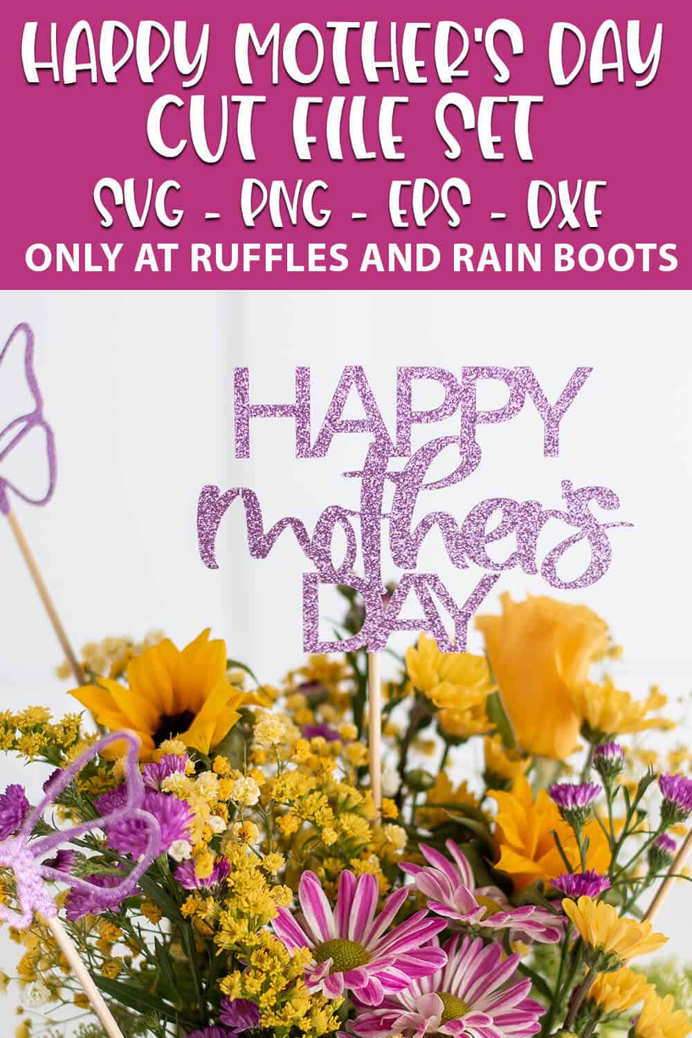 cut file set happy mother's day SVG for cricut or silhouette with text which reads happy mother's day cut file set svg png eps dxf