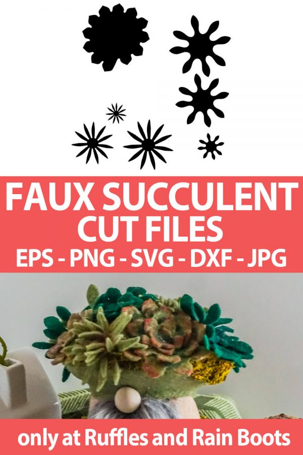 photo collage of faux succulents made of felt or paper with text which reads faux succulent cut files eps png svg dxf jpg