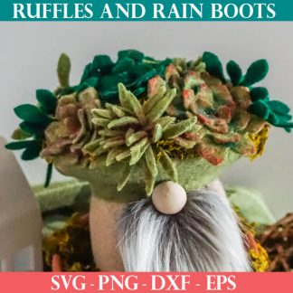 DIY gnome with faux succulents on the hat