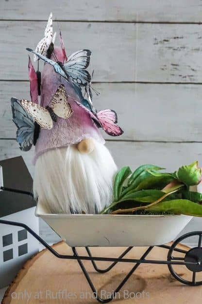DIY gnome with a butterfly hat