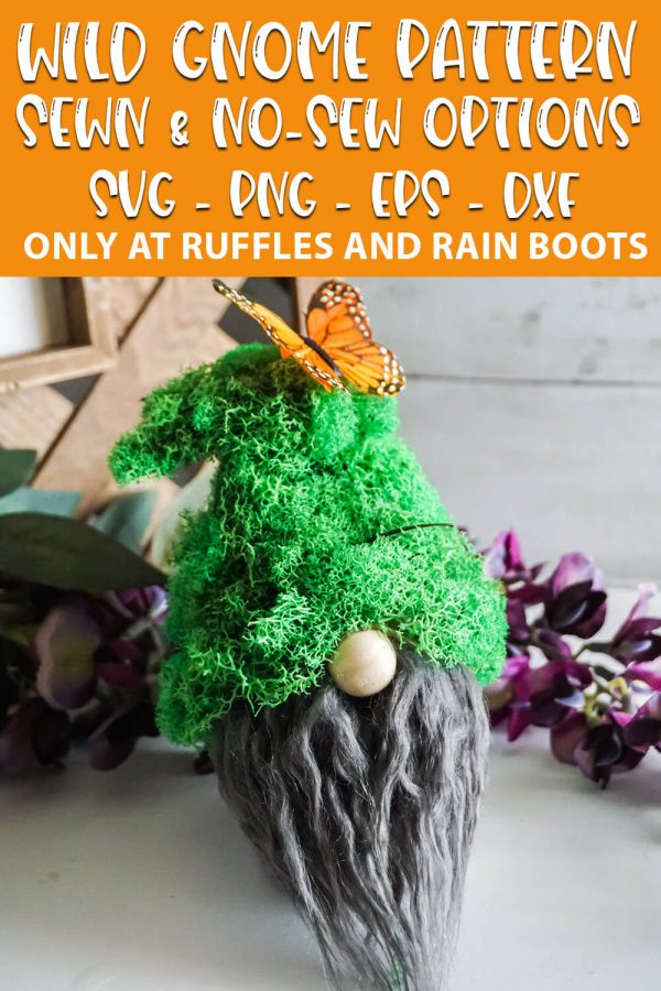 diy moss hat gnome pattern with text which reads wild gnome pattern sewn & no-sew options svg png eps dxf