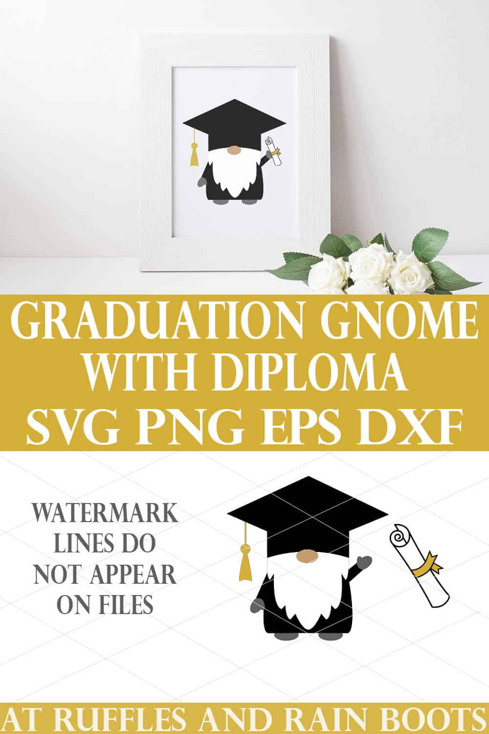 vertical collage of graduation gnome SVG in white frame holding a diploma