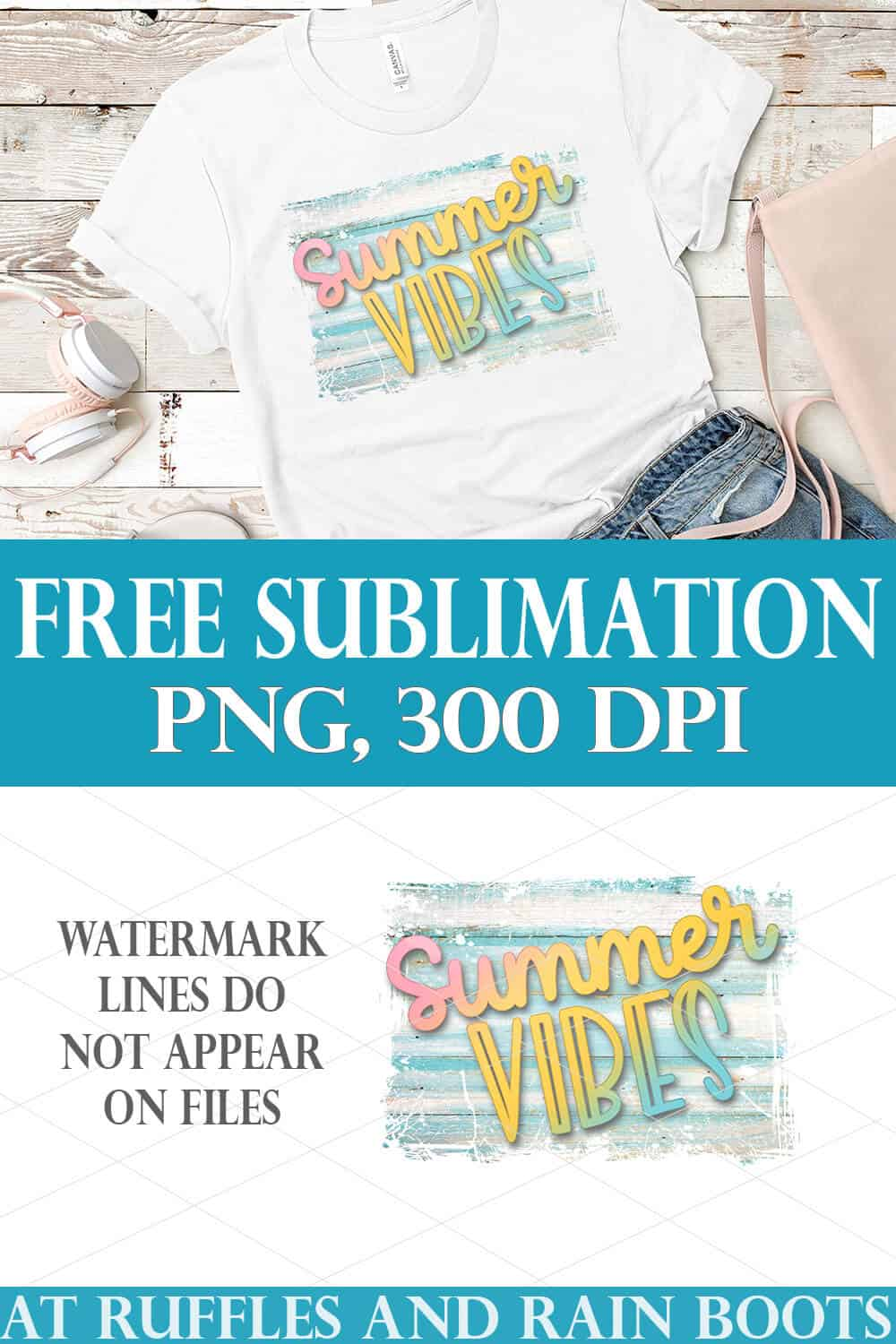 collage of summer vibes sublimation file on white t shirt on wood background